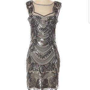 Unique Vintage Gray/Metallic Beaded Cocktail Dress